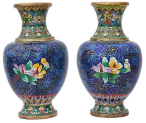 Pair of mid 20th Century Chinese cloisonne vases