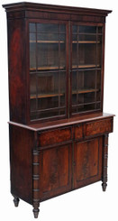Georgian mahogany secretaire bookcase desk writing