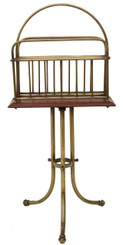 Victorian brass walnut Canterbury magazine rack newspaper