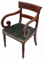 19th Century scroll arm mahogany office elbow desk chair carver