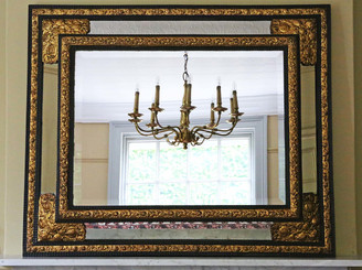 Victorian ebonized gilt cushion wall mirror overmantle