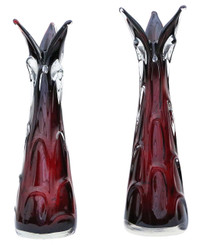 Pair of red art glass vases