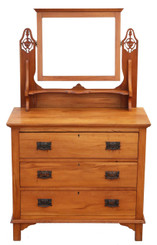 Satinwood dressing table chest of drawers Art Nouveau