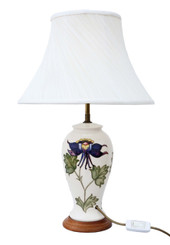 Moorcroft ceramic table lamp with shade