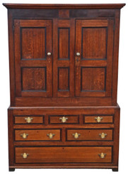 Georgian C1800 oak wardrobe hall coat cupboard on chest