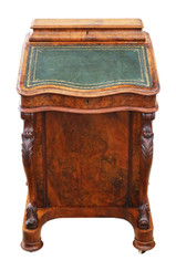 Victorian burr walnut davenport writing table desk