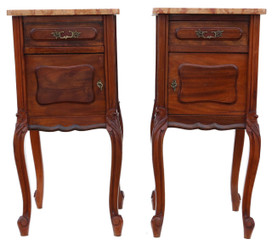 Pair of French walnut marble bedside tables cupboards cabinets