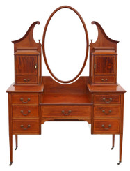 Large Edwardian inlaid mahogany dressing table