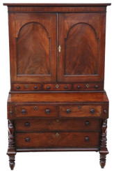 Georgian mahogany housekeeper's cupboard secretaire