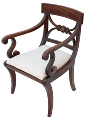 Regency mahogany elbow desk chair
