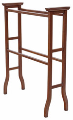 Edwardian inlaid mahogany towel rail stand