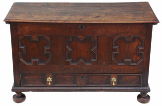 Georgian 18th Century oak coffer or mule chest