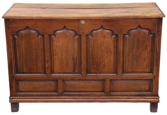 Georgian oak coffer or mule chest 18th Century
