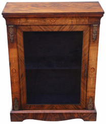 Inlaid burr walnut pier display cabinet C1880