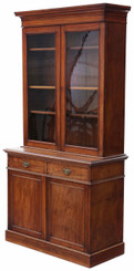 Victorian mahogany glazed bookcase cupboard display cabinet