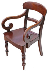 Early Victorian fruitwood elbow desk chair