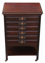 Edwardian mahogany music cabinet chest of drawers
