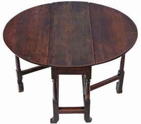 Georgian drop leaf gateleg oak dining table