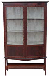 Edwardian mahogany bow front display cabinet