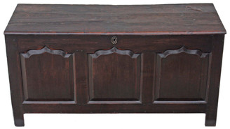 Georgian 3 panel oak mule chest coffer