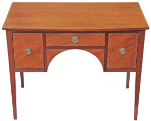 Victorian small inlaid satin birch sideboard desk