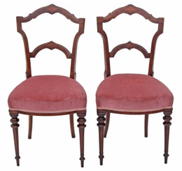 Pair of Victorian inlaid walnut dining chairs