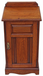 Edwardian walnut bedside table cabinet cupboard