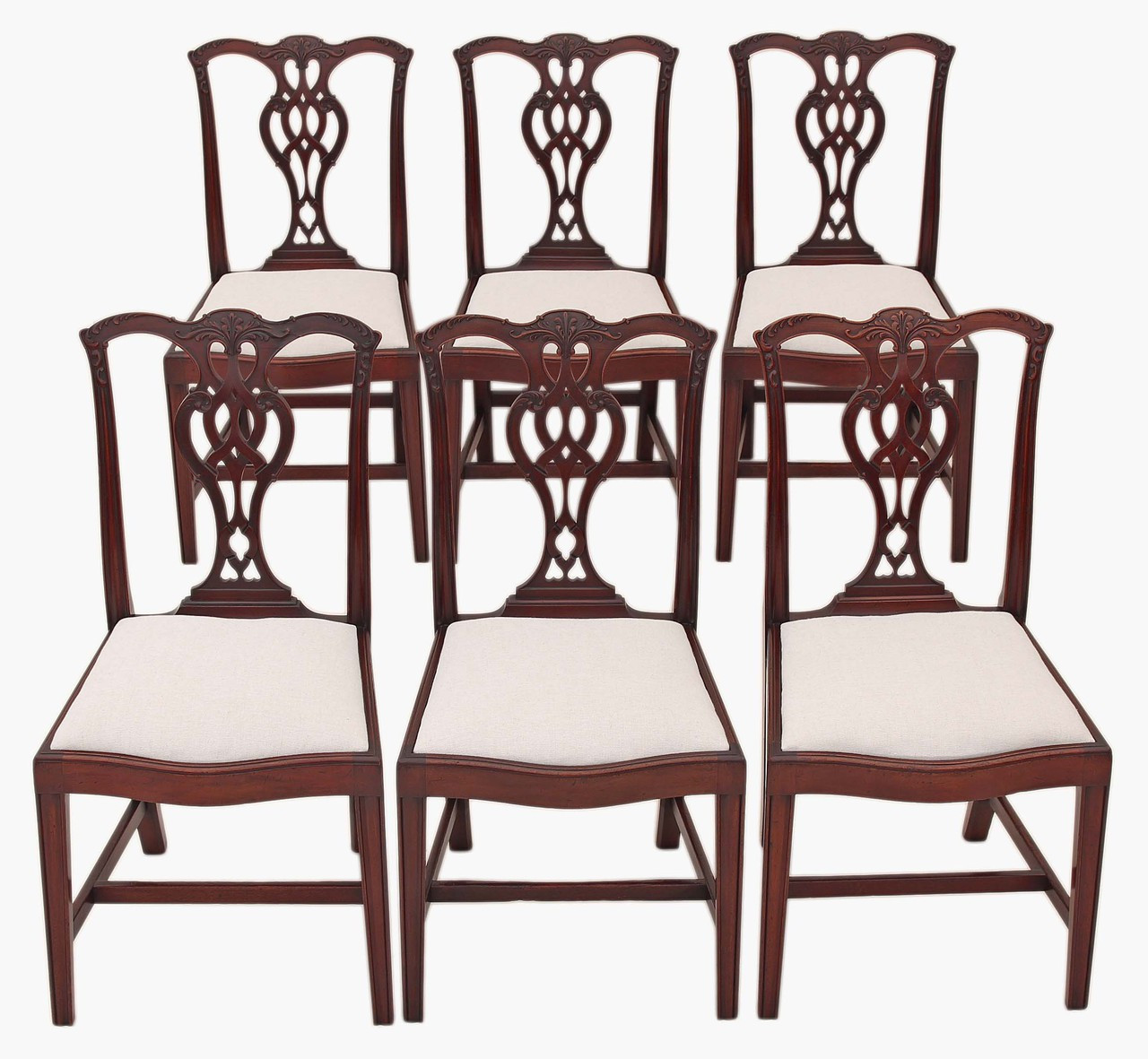 Set Of 6 Georgian Chippendale Revival Mahogany Dining