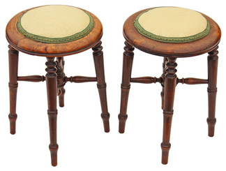 Pair of Victorian beech upholstered stools