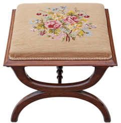 Victorian rosewood x-frame stool seat foot