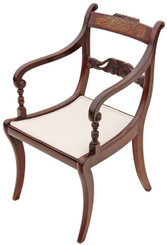 Regency brass inlaid faux rosewood desk chair carver