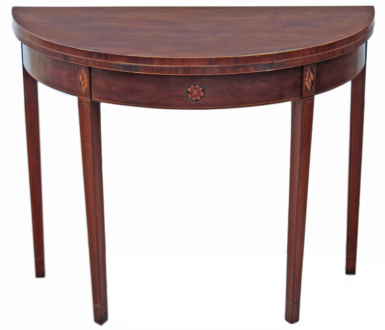 Regency inlaid mahogany folding card console table west for Table console retractable