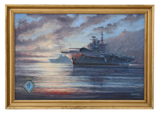 Large oil painting M J Whitehand HMS Hermes aircraft carrier Naval