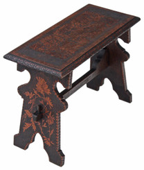 Gothic hardwood poker work window seat bench side chair
