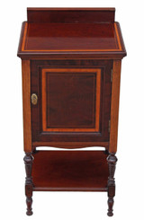 Edwardian Maple & Co. inlaid mahogany bedside table cupboard cabinet