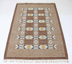 Swedish Rollakan hand woven wool rug signed IS