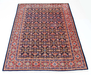 Persian hand woven wool rug carpet blue terracotta
