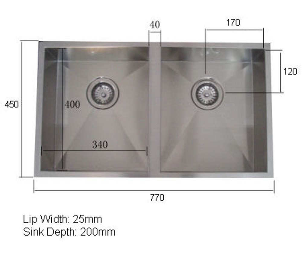 NORMANDY CUBE DOUBE SINK UNDERMOUNT OR DROP IN 340 DOUBLE