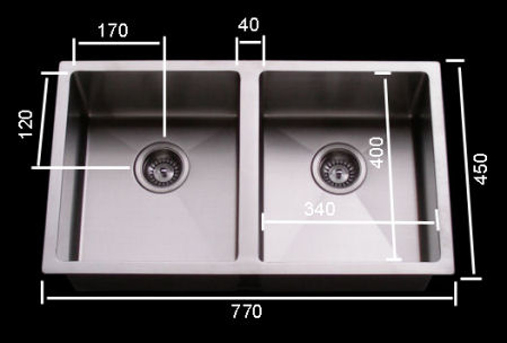 Cube Square Double 340 Sink with Round Corner