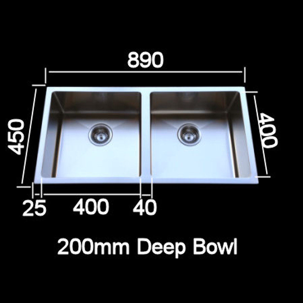 Cube Square Double 400 Sink with Round Corner
