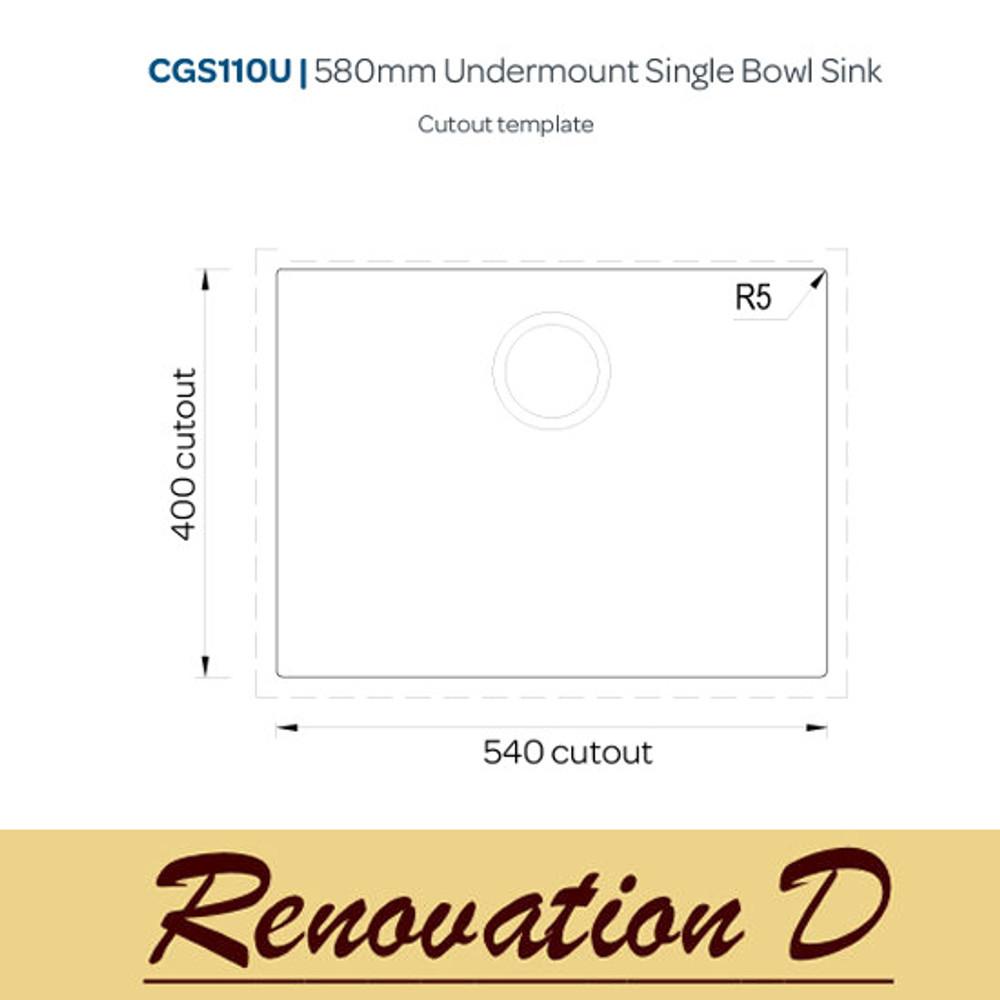 Cino Puro CGS 110U 585 MM Undermount Single Bowl Granite Sink BLack Grey White