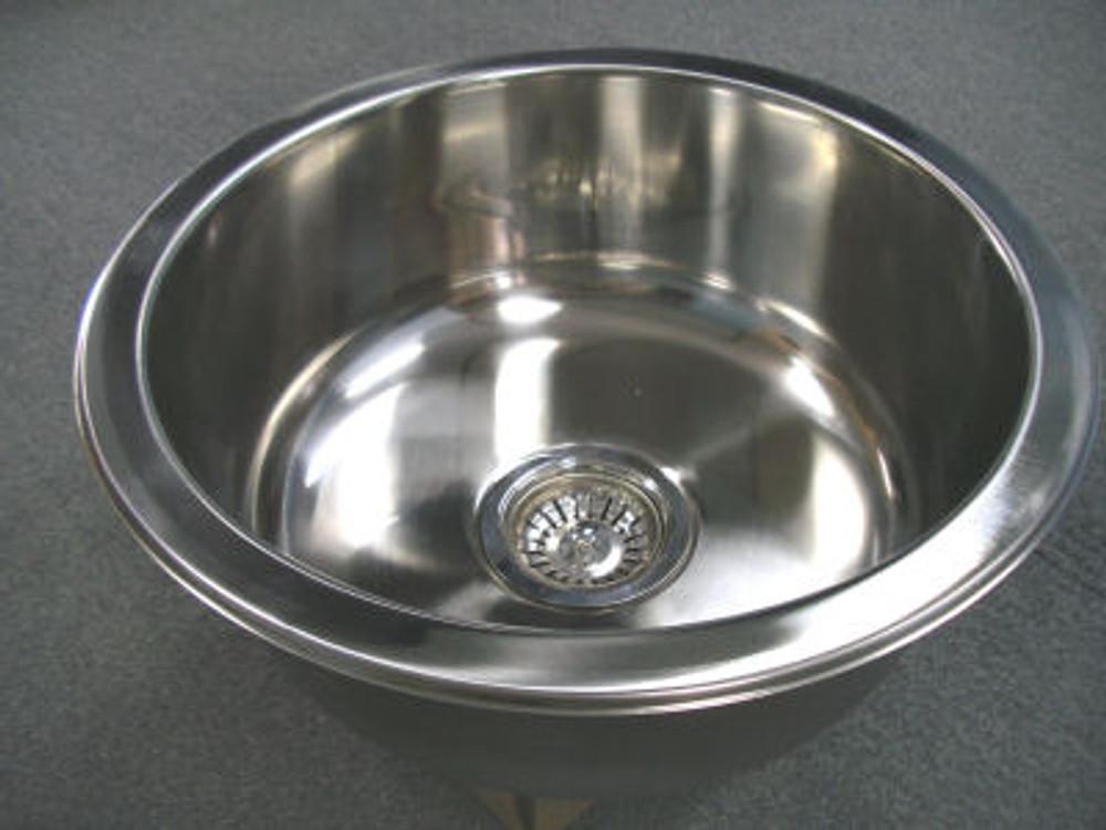 CHROME Stainless Steel Kitchen Sink Round Single Bowl