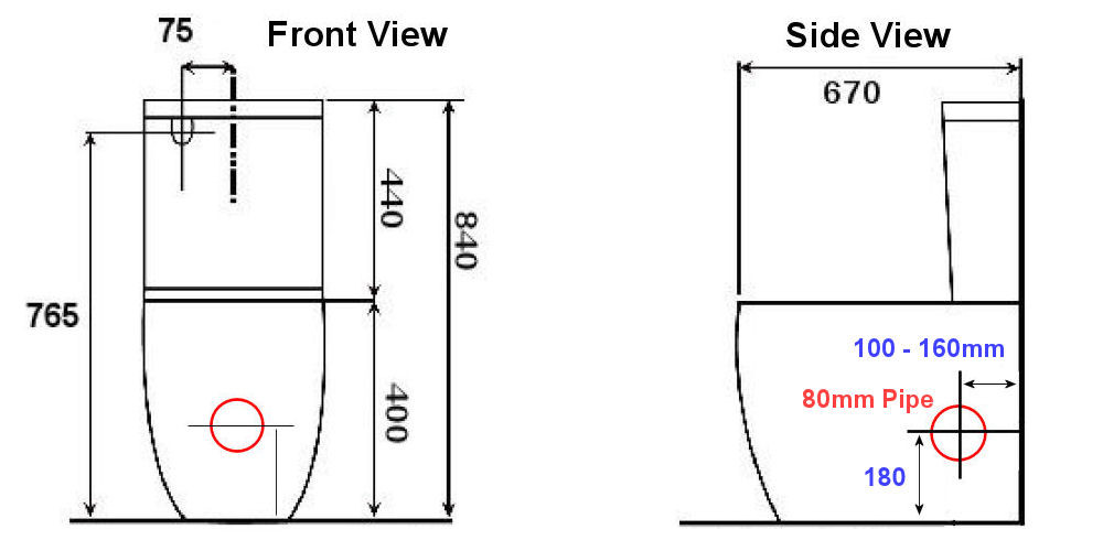 Normandy Venus Skew Toilet Suite - LEFT or RIGHT outlet