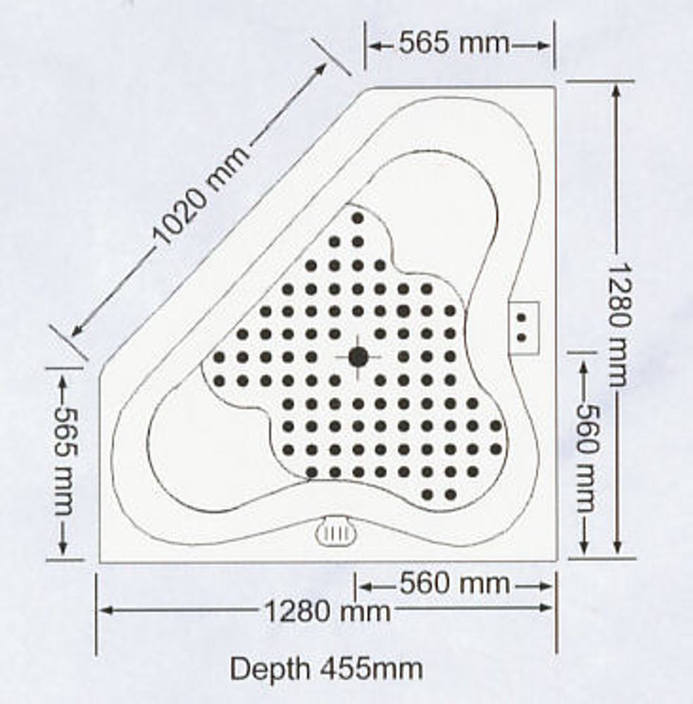 Almina 1280mm Corner Spa Bath with Hot Pump