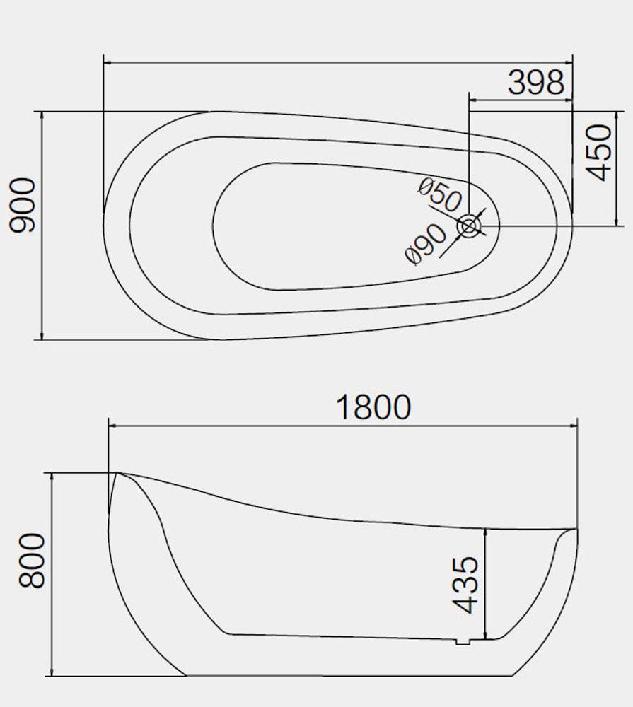 1800 Normandy Egg Freestanding Spa Bath 16 Jets, Chrome or Black Jets