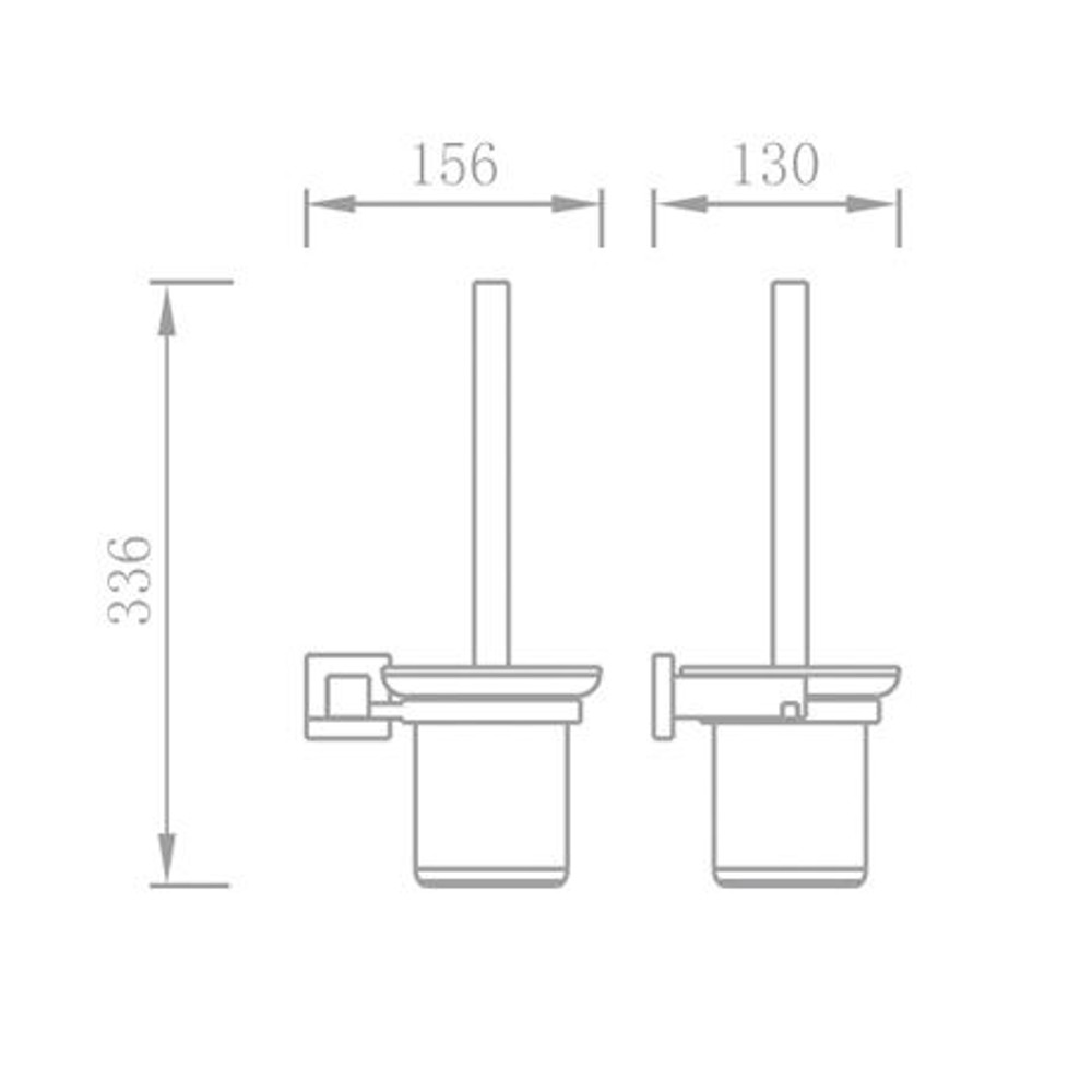 Normany Toilet Brush Holder, Solid Brass & Chrome