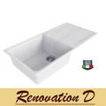 Cino Curva CGS 480T 1000 MM Drop In Single Bowl With Drainer Granite Sink Black White