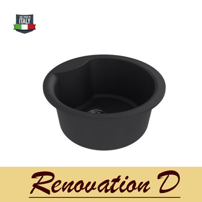 Cino Curva CGS 410T 485mm Dia Drop in Granite Sink Black