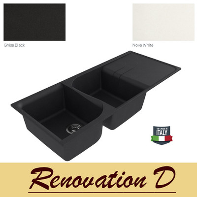 Cino Curva CGS 500T 1160 MM Drop In Double Bowl With Drainer Granite Sink Black White