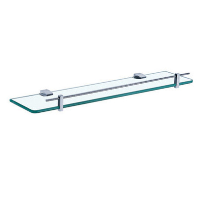 Normany 550 Single Glass Shelf, Solid Brass & Chrome